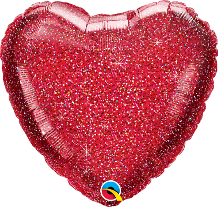 Glitter Print Heart Shaped Red Foil